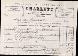 CHARLETY , NETTOYAGE DE GANTS EN PEAU A CHAMBERY / FACTURE DATEE 1874 - France