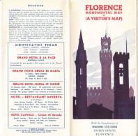 FLORENCE MONUMENTAL MAP 1955 WAGONS LITS TOURIST OFFICES Depliant - Pubblicitari