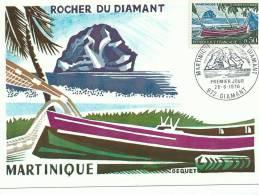 Carte Maximum Martinique, Rocher Du Diamant, 26/06/1970, Maquette De Bequet - 1970-79