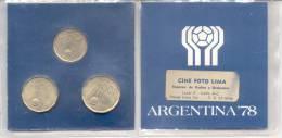 MUNDIAL DE FUTBOL FUTEBOL BALOMPIE ARGENTINA 78 1978 BLISTER DE MONEDAS AÑO 1977 - Argentinië