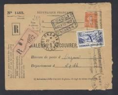 RECOUVREMENT / VALEURS A RECOUVRER Devant Env 1488 Tarif 1,75 Fr Tarif 18/07/1932 - Marcophilie (Lettres)