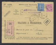 RECOUVREMENT / VALEURS A RECOUVRER Devant Env 1488 Tarif 1,75 Fr Tarif 18/07/1932 - Postmark Collection (Covers)