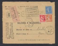 RECOUVREMENT / VALEURS A RECOUVRER Devant Env 1488 Tarif 1,75 Fr Tarif 18/07/1932 - Poststempel (Briefe)