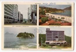 AMERICA BRAZIL NITEROI 4 FOTOS CITY AREAS OLD POSTCARD 1956. - Brazil