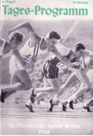 Programme Jeux Olympique Berlin 1936  Tages Programm  2 Aout - Programme