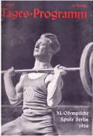 Programme Jeux Olympique Berlin 1936  Tages Programm  3 Aout - Programme