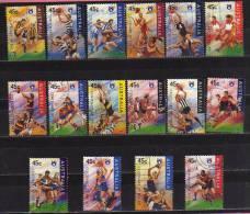 Australie. Serie Complete Obliteree RUGBY AUSTRALIEN. 16 T-p . Annee 1996. Yvert # 1498/1513 Cote   12.00 € - Rugby