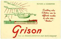 """Buvard Grison, Hydravion Géant """"Princess"""" - Buvards, Protège-cahiers Illustrés"""