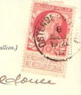 COB 74 10c Grosse Barbe Avec Bandelette- Sur Carte Postale D´Ostende-Oostende -Jeux D´enfants  - Oblitération De 1907 - 1905 Grosse Barbe