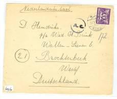 BRIEFOMSLAG  NVPH 382 Uit 1944 Van WOERDEN Naar BROCHTERBEEK  DEUTSCHLAND (6916) - Period 1891-1948 (Wilhelmina)