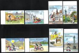 GRENADE-GRENADINES-Disney-Bicent. De La Révo - PHILEXFRANCE 89 YVERT N°998/1001 & 1012/1015** NSC - MNH - Franz. Revolution