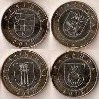 "Lithuania Set Of 4 Coins: 2 Litai 2012 ""Dedicated - Lithuanian Resorts"" BiM. UNC - Litauen"