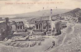 Italy Taormina Teatro Antico con vista del Castello di Capo Schi