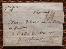 Lettre Marque Postale Guignes Manuscrite Seine Et Marne Pour Saint-André De Cubsac - Marcofilie (Brieven)