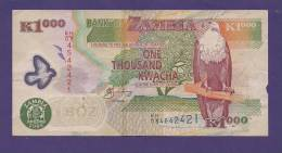 ZAMBIA 2008,  Banknote Used VF, 1.000 Kwacha (special Paper) (little Torn) - Zambia
