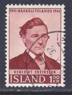 Iceland, Scott # 342 Used Sveinsson, 1961 - 1944-... Republik