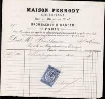 MAIOSN PERRODY, RUE DE RICHELIEU A PARIS / FACTURE DATEE 1878 - 1800 – 1899