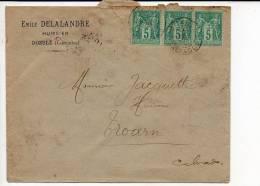1894 - E. Delalandre Huissier CAD De Dozulé Type A2 Sur Paire + 1 Sage N° 75 Pour Troarn / Dos CAD Arrivée Via Caen - Storia Postale