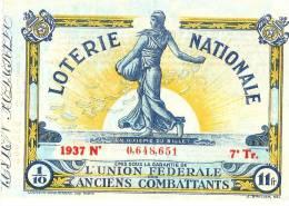 Loterie Nationale/ Union Fédérale Des Anciens Combattants/ Un Dixiéme /1937      LOT4 - Lottery Tickets