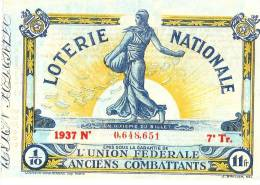 Loterie Nationale/ Union Fédérale Des Anciens Combattants/ Un Dixiéme /1937      LOT4 - Biglietti Della Lotteria