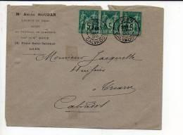 1888 - A. Houdan Avoué CAD De Caen Type Daguin A1 Sur Bande De 3 Sage N° 75 Pour Troarn / Dos CAD Arrivée - 1877-1920: Période Semi Moderne
