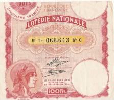 Loterie Nationale/République Française /1934      LOT6 - Biglietti Della Lotteria