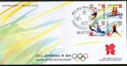 India 2012 London Olympic Games Badminton Sailing Rowing Handball Se-Tenant BLK/4 FDC # F2770a Inde Indien - Summer 2012: London