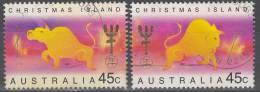 Christmas Island 1997 Michel 427 - 428 O Cote (2005) 1.80 Euro Année Du Buffle Cachet Rond - Christmas Island