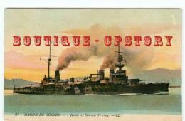 """NAVIRE De GUERRE """" JUSTICE """" - Cuirassé - Bateau Croiseur Destroyer  - Marine Militaire - Carte Couleur - Dos Scanné - Warships"""