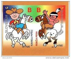 Slovenia Slovenie Slowenien 2001 Mi 343-4; Comic Figures From Children Books, Strip, Cowboy And Indian; Horse; MNH - Slowenien