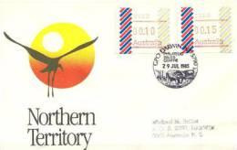 Oiseau Jabiru . Black-necked Stork (Ephippiorhynchus Asiaticus) Avec Framas ATM Emis A DARWIN En 1985, Sur Lettre - ATM - Frama (vignette)