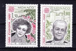 MONACO 1980  Europa CEPT , Y&T  #  1224/25 , Cv  2,40 E . ** M N H , V V F - 1980