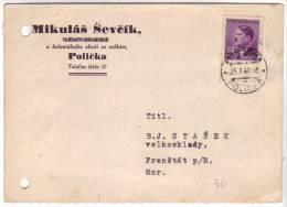 Carte De Mikulas Sevcik, Policka (Bohème Moravie - Böhmen Und Mähren) Du 25/1/1944 Vers Frenstat - Böhmen Und Mähren