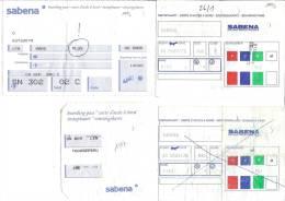 4 Boarding Pass - Sabena - Vols Vers Milan Et Madrid, Vol D´Athènes à Bruxelles - Instapkaart
