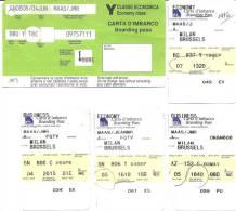 5 Boarding Pass - Vols De Milan Vers Bruxelles Avec Sabena, Alitalia Et Virgin Express - Instapkaart