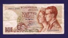 BELGIUM 1966, Banknotes, USED VG,  50 Francs Km69 - [ 2] 1831-... : Belgian Kingdom