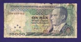 TURKEY 1970, Banknote, USED GOOD,  10.000 Lira (little Holes And Torn) Km129 - Turkije