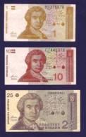 CROATIA 1991, 3 Different Banknotes, USED VF,  1, 10 And 25 Dinara - Croatia