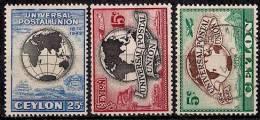 Ceylan. 1949. Y&T 277-9. UPU. - Sri Lanka (Ceylon) (1948-...)
