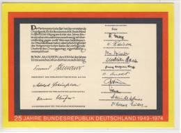 Postkarte Zu 25 Jahre BRD, Rückseite: Unterschriftsblätter Zu Grundgesetz, Wertaufdruck - Events
