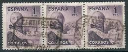 España U 1070 (o) San Juan De Dios. 1950. Foto Exacta. Tira De Tres - 1931-Aujourd'hui: II. République - ....Juan Carlos I
