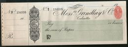 India Grindlay & Co. Calcutta Bank Cheque Form Blank With Counterfoil+ 1An Revenue RARE Inde Indien # 15181A - Bank En Verzekering