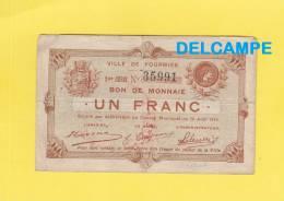 Ville De FOURMIES - Bon De Monnaie - 1 Franc - 2ème Série N° 35991 - Cachet Rouge Echange De Billet - Ohne Zuordnung