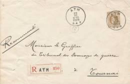 306/20 - Lettre RECOMMANDEE TP Houyoux ATH 1926 Vers TOURNAI - Origine VILLERS ST AMAND - 1922-1927 Houyoux