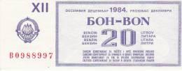 YUGOSLAVIA 1984  --  BON FUR 20  LITER BENZIN - Jugoslawien
