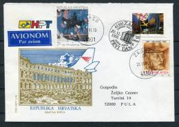 1991 Croatia Kroatien Hrvatska Zagreb Mixed Franking Airmail Cover To Pula - Croatia