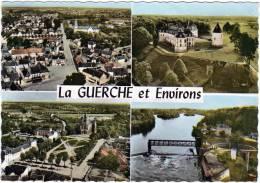 CPSM - GF - Multi Vues La Guerche Sur L'Aubois Et Ses Environs - La Guerche Place De L'église - Le Guestin Le Pont Canal - La Guerche Sur L'Aubois