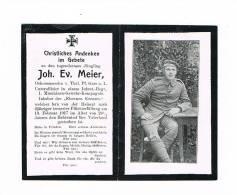 Sterbebild WK.1 - MEIER Joh. Ev. - Unteroff. Inf.-Regt. - 1. Maschinen-Gewehr-Komp.  + 19.2.1917 - 1914-18