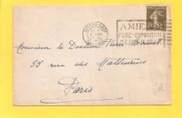 Lettre Type SEMEUSE 193 Obl AMIENS GARE FOIRE EXPOSITION - Marcophilie (Lettres)