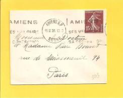 Lettre Type SEMEUSE 189 Obl AMIENS RP SES VELOURS SA CONFECTION - Storia Postale